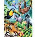 Malování podle čísel pastelkami A4 - Džungle