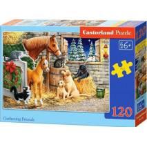 Puzzle 120 dílků - Setkání přátel ve stáji 13340