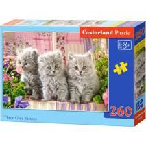 Puzzle 260 dílků - Tři šedivá koťata 27491