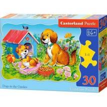 Puzzle 30 dílků - Pejsci na zahradě 3549