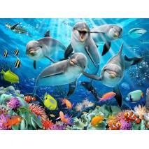 Puzzle 3D efekt - Delfíni 63 dílků