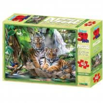 Puzzle 3D efekt - Tygři 63 dílků