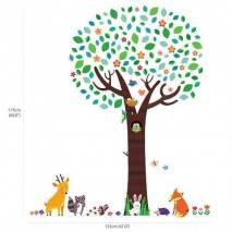 DecoWall Samolepky na zeď -  Velký strom se zvířátky