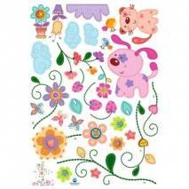 DecoWall Samolepky na zeď -  Květiny a zvířátka