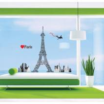 DecoWall Samolepky na zeď - Velká Eiffelova věž