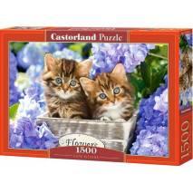 Puzzle 1500 dílků - Koťátka ve fialových kvítkách 151561