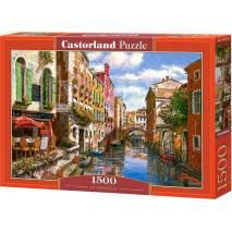 Puzzle 1500 dílků - Malovaný vodní kanál a gondoliér 151578