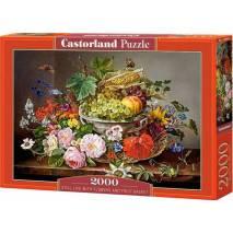 Puzzle 2000 dílků - Květiny a mísa s ovocem 200658