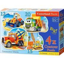 Puzzle sada 4v1 - Stavební stroje - 8,12,15,20 dílků 43040