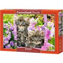 Puzzle 1000 dílků - Koťata v růžovém koši 104086