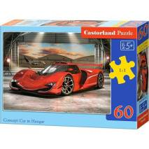 Puzzle 60 dílků - Červené auto v hangáru 66162