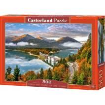 Puzzle 500 dílků - Východ nad Sylvenstein jezerem, Německo 53353