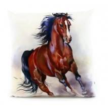 Polštářek s potiskem 33x33cm kůň hnědák