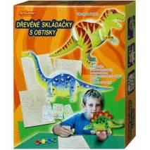 Dřevěné skládačky s obtisky - dinosauři