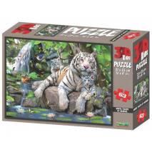Puzzle 3D efekt - Bílí tygři 63 dílků