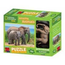 Puzzle 3D efekt - Sloni 100 dílků s figurkou