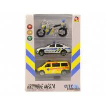 MaDe Sada záchranářských aut a motorka, zvuk a světlo