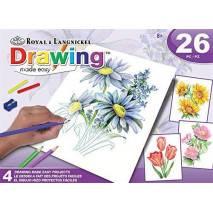 Sada kreslení pastelkami - Květiny, 4 obrázky