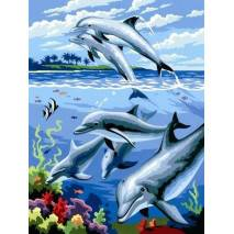 Malování podle čísel - Delfíni PJS24
