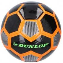 Míč fotbalový Dunlop šitý 22cm vel.5 - černo-oranžový