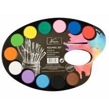 Akvarelové barvy na paletě + štětec