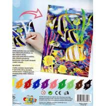 Malování podle čísel pastelkami A4 - Ryby