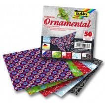 Papíry na skládání Origami Ornamental, 50 listů, 15x15cm, 80g