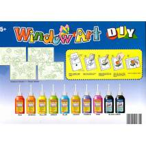 Okenní sloupávací barvy- 10x40ml, fólie, předlohy
