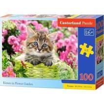 Puzzle 100 dílků - Kotě v zeleném košíku 111039