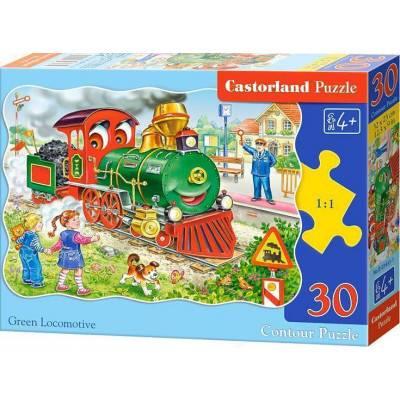 Puzzle 30 dílků - Zelená lokomotiva 3433