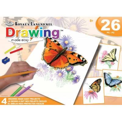 Sada kreslení pastelkami - Motýlci, 4 obrázky