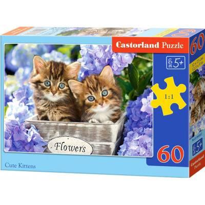 Puzzle 60 dílků - Koťátka ve fialových kvítkách 66087