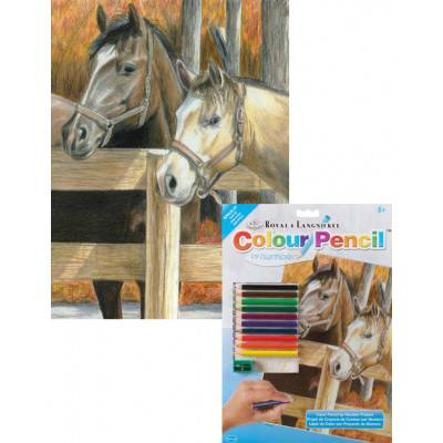 Malování podle čísel pastelkami A4 - Koně ve stáji