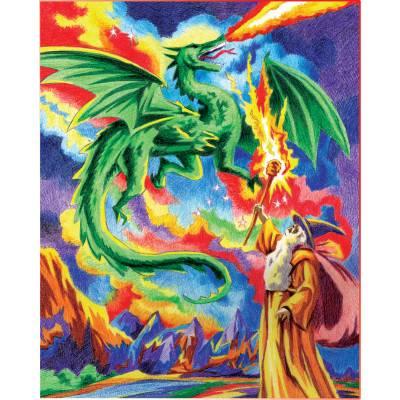 Malování podle čísel pastelkami A4 - Drak a čaroděj