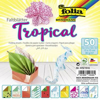Papíry na skládání Origami Tropical, 50 listů, 15x15cm, 80g