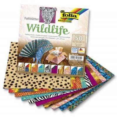 Papíry na skládání Origami Wildlife, 50 listů, 15x15cm, 80g